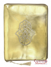 "Tablet Pouch with Hamsa Design Suitable for Ipads Handmade Gold 26 cm x 21 cm / 10.2"" x 8.3"""